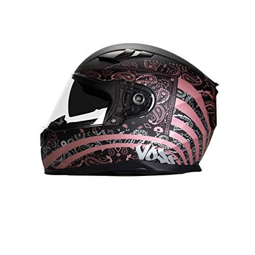 Voss 988 Moto-1 Full Face Helmet Womens America Graphic. Retractable Internal Eyeshade Quick Release DOT/ECE - Medium - Flat Metallic Pink