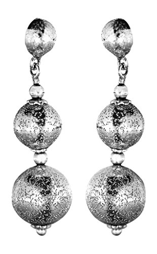 Hobra-oro 3,5cm lunga orecchini oro bianco 585palle scintillante orecchini in oro 14KT.