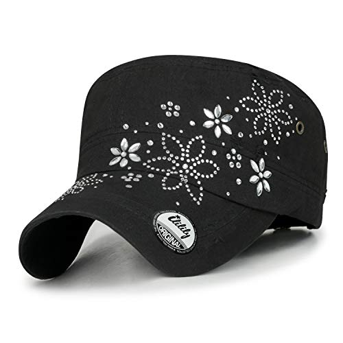 ililily Crystal Gemstone Stud Flower Vintage Cotton Military Army Hat Cadet Cap, Black