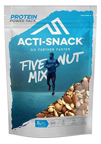 ACTI-SNACK Five Nut Mix Powerpack. Sports Nutrition Snacks, Roasted Almonds, Peanuts, Brazils, Cashews, Pecans. Keto Certified, High in Plant Protein. Vegan. 12x 200g