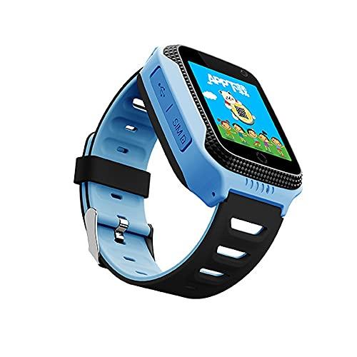 TYOP Smart Watch, Tarjeta de posicionamiento de teléfono de la Tarjeta GPS, Pedómetro de Pantalla táctil de Micro-Chat de Voz (Color : Blue)