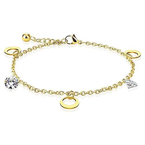Bungsa gouden bedelarmband voor dames met maanbedel en kristallen steen (roestvrij stalen armband damesarmband herenarmband bracelet chirurgisch staal sieraden)