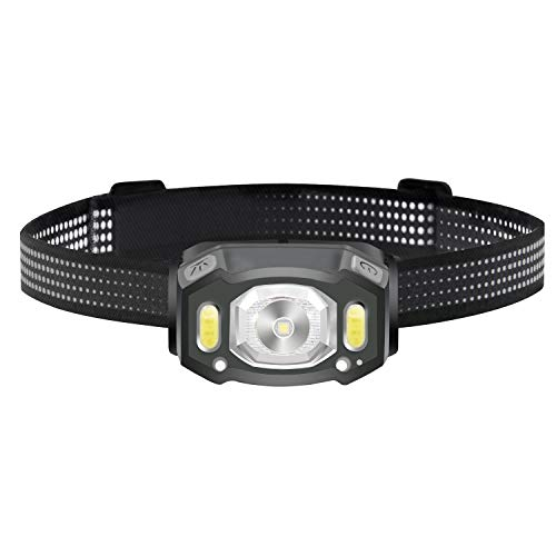 Linterna Frontal LED, Sensor USB Recargable Linterna Cabeza, Ligero Impermeable Linternas Frontales para Camping, Pesca, Correr, Caza, Deportes Nocturnos