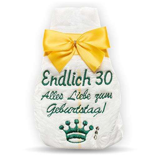 Geschenk zum 30. | Endlich 30 | Geburtstag Tanjo bestickte Windel | gelb lustige Geschenke zum 30. Geburtstag, 30. Geburtstag lustige Geschenke, 30. Geburtstag Frauen, 30. Geburtstag Männer