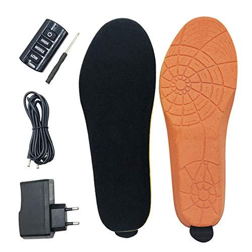 ZRSH USB Plantillas Calefactables, Plantillas Térmicas, Recargables, con 3 Niveles de Calor y Mando a Distancia, se Puede Cortar, para Invierno, Caza, Pesca, Senderismo,001,35~40