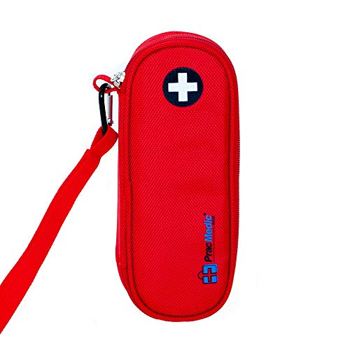 """PRACMEDIC EpiPen Medicine Case for Emergencies - Compact, Insulated, Red, 8"""" - Carrying Case Holds 2 EpiPens or Auvi Q, Antihistamine Tablets and Medicine - Easy Access (with Tag)"""