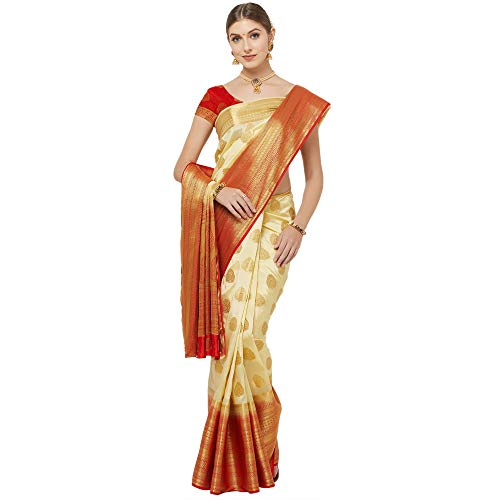 IDIKA Women's Banarasi Art Silk Saree With Blouse Piece (I29280_Cream & Red)