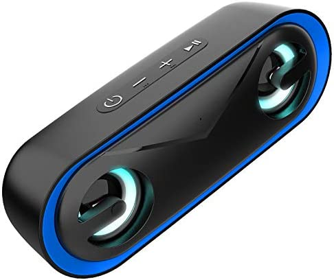 LENRUE LED Portable Bluetooth Speaker, Wireless Speaker with IPX5 Waterproof, Rich Bass, Built-in Mic, Support TF Card. Perfect for iPhone, Laptop, PC