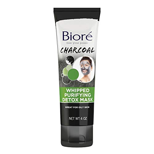 Biore Charcoal Whipped Purifying Detox Mask, with Natural Charcoal, Deep Pore Cleansing, 4 Ounce, Dermatologist Tested, Non-Comedogenic, Oil Free