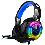Nivava Gaming Headset for PS4, Xbox One, PC Headphones with Microphone LED Light Mic for Nintendo Switch Playstation Computer, K6(Blue)