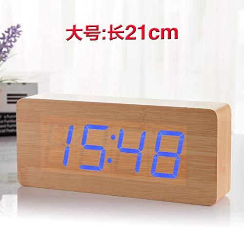 Luxuryclock nachtlampje wandklok creatief woonkamer klok elektronisch retro antieke klok Taiwan rustig grote wandklok nachtkastje wekker studenten Big Size [Wooden Blue Characters]