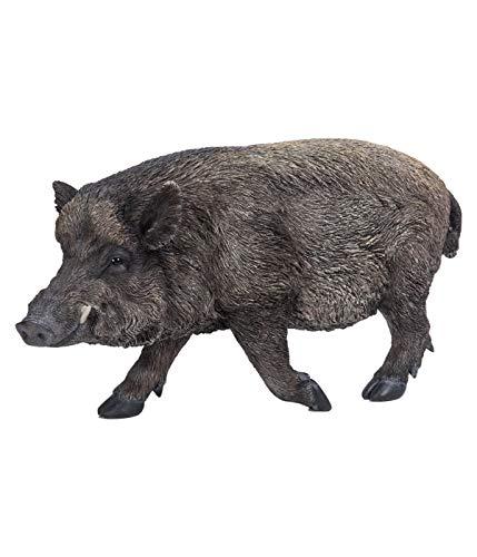 Dehner Dekofigur Wildschwein, ca. 59.5 x 30.5 x 20 cm, Polyresin, braun/grau
