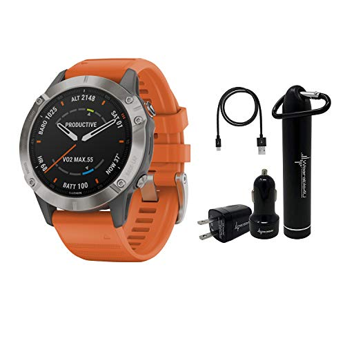 Best Price Garmin Fenix 6 Premium Multisport GPS Watch with Pulse Ox with Included Wearable4U Power ...