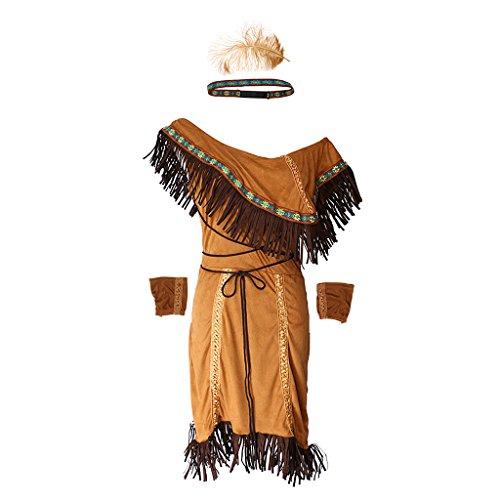 Hellery Mujer Nativa Americana India Princesa Disfraces Cosplay Fiesta Constume Conjunto - S