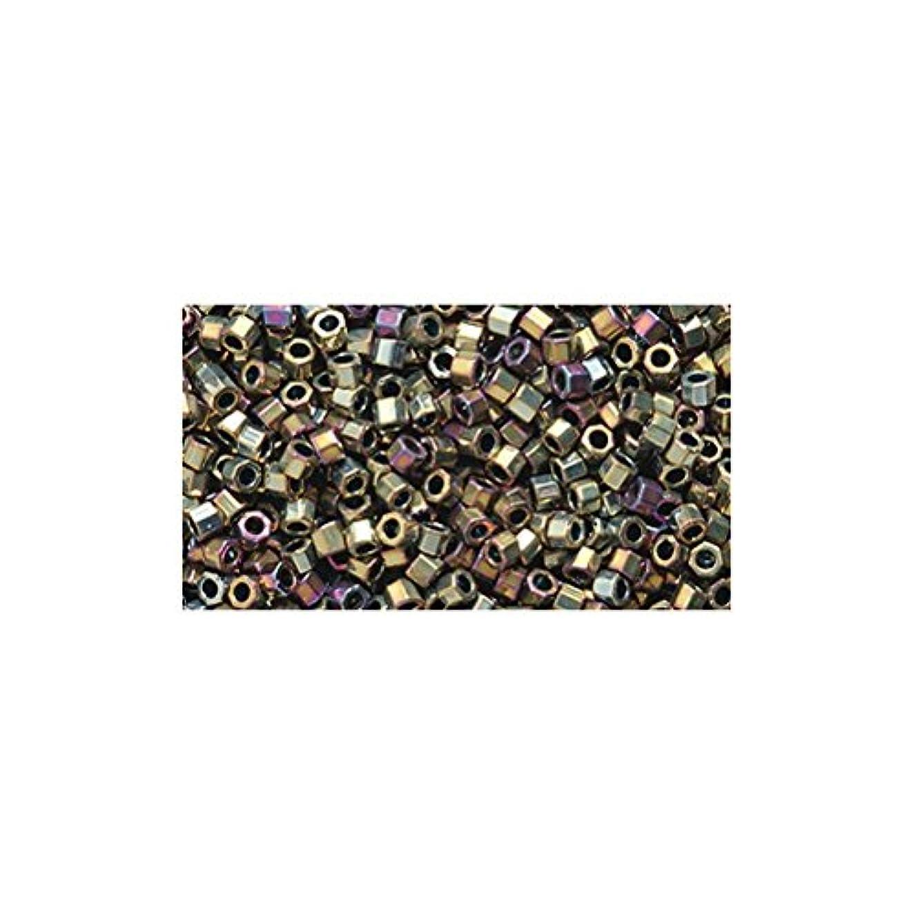 Miyuki Delica Hex Seed Bead 11/0 DBC0029, Purple Gold Iris, 9-Gram/Pack