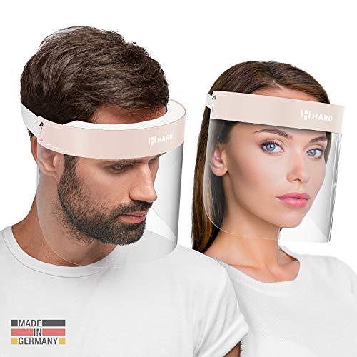 HARD 1x Pro visor Visiera protettiva, Certificato medico, Schermo facciale di sicurezza Antinebbia Face Shield, Prodotto in Germania, Adulti - Bianco/Beige