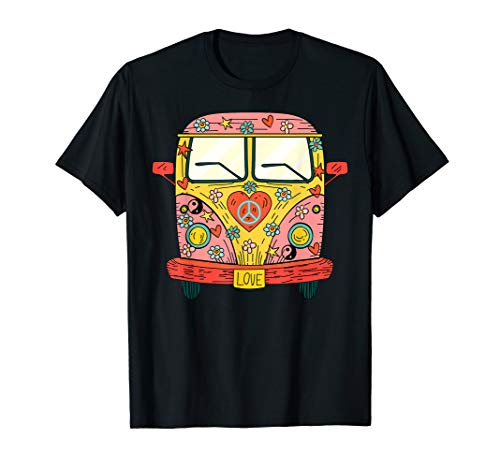 Hippie Kostüm - Peace Love Flower Power Retro Camper Bus T-Shirt