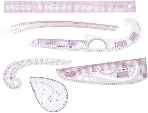 rzdeal 6Stlye plástico moda Stick patrón diseño regla Set diseño Craft Costura Herramienta de dibujo (centímetro/()