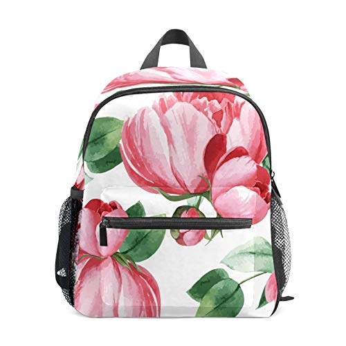 Kids Backpack Preschool Kids School Bag Boy Girl Lightweight Shoulder Book Bag for 1-6 Years Old Perfect Back Pack for Toddler to Kindergarten Peony Flowers Botanical Pink