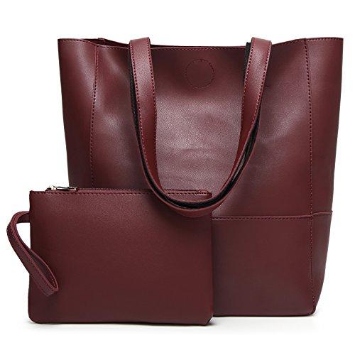 DCCN Grande Borsa A Mano Da Donna Shopper In Pelle Sintetica PU (Poliuretano) Borsa Messenger Borsa Acquisti Con Astuccio Incluso Vino Rosso