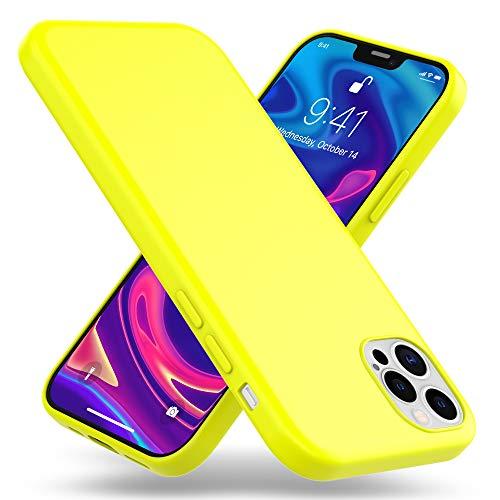 Kaliroo Neon Hülle kompatibel mit iPhone 12 PRO MAX Hülle, Farbig Bunte Silikon Schutzhülle Handy-Tasche Cover Dünn, Ultra-Slim Soft Bumper Etui Handyhülle Backcover Flexibel Stoßfest, Farbe:Gelb