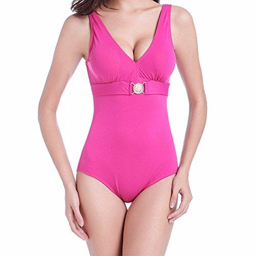 Sidiou Group Bañador de una Pieza con Gran tamaño, Traje de baño de 90% poliéster, Traje de baño por Mujeres Grasas, Bikini de una Pieza con V-Cuello, Cintura Alta & Escotado por detrás.