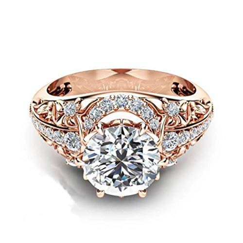 Thumby European and American Fashion Plated 14K Rose Gold Micro-Encrusted Diamond Ring Dames Ring, Zirkoon, Sweet Wind, Party Flat Ring, Claw Set, rond, Transparant & rosé verguld, US 10