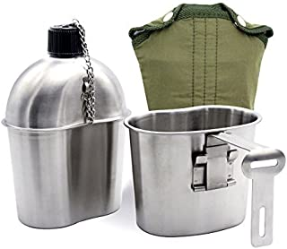 Fasterhab 1L Portable Water Bottle Stainless Steel Military Canteen with 0.5L Cup Green Bag Outdoor Sport Camping Hiking Travel