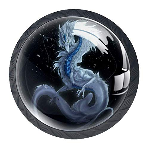 Cabinet Door Knobs White Dragon Closet Knobs Glass Crystal Black Knobs Printed Decorative furniture Knobs Modern For Home Office Bar Farmhouse with Screws