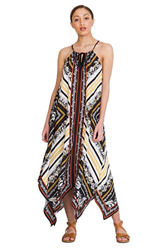 Halter Bohemian Maxi Dress - Floral Baroque Print Drawstrings Hanky Dress BLK/WHT Medium