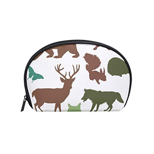 Trousse de maquillage en sergé, petite coquille, trousse de toilette, rangement pour femmes, animaux de la forêt