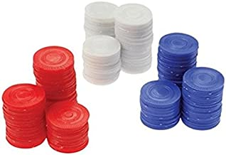 Plastic Chips - Red, White & Blue (200 Each) - Poker Bingo Card Game Counting Marker