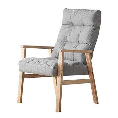 Sillón de madera maciza plegable, respaldo ajustable, sofá individual con reposapiés, asiento de espuma de alta densidad, salón para sala de estar y dormitorio, gris, sin reposapiés