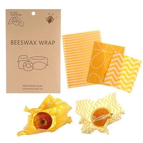 Womdee bijenwas wrap 3 stuks, wasbare & herbruikbare levensmiddelverpakking alternatief voor plastic folie, milieuvriendelijke vershouddoos - koelkast, keuken voor kaas sandwichvruchten
