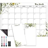 Magnetic Calendar for Fridge (Green Leaf) | Set of 3 Magnetic Dry Erase Calendar for Refrigerator: Monthly Fridge Calendar 17 x 12 Inch, Shopping List & To Do List 4 x 8 Inch| 3 x Markers & 1 x Eraser