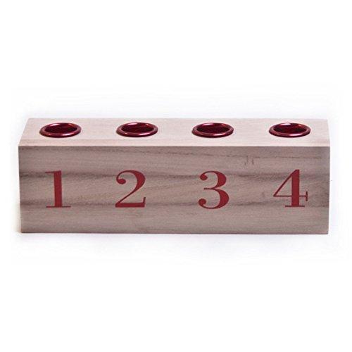 Bloomingville Kerzenhalter für 4 Kerzen Aufschrift Dezember rot 20 cm Advent - Weihnachten - Adventskranz - Dekoidee - Weihnachsdeko