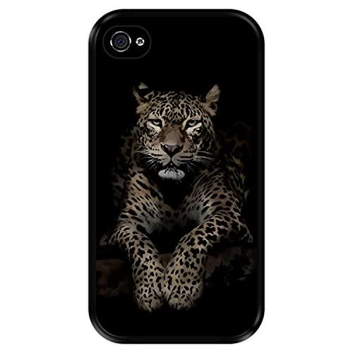 Hapdey Funda Negra para [ Apple iPhone 4-4S ] diseño [ Leopardo, Mirando ] Carcasa Silicona Flexible TPU