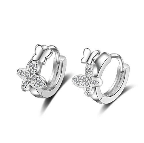 Shawa - orecchini a cerchio da donna, in argento Sterling 925, con piccoli zirconi e farfalla, stile elegante
