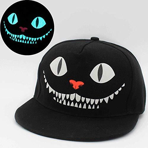 Bollaer fluoreszierende Snapback-Baseballkappen, Hip-Hop-Kappe für Damen und Herren, lässige Unisex-Kappen, leuchtet im Dunkeln, verstellbar, Smile