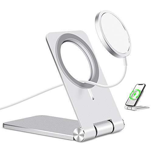 Amazon Brand - Eono Soporte Movil Plegable Diseñado para el Cargador de Apple MagSafe, Soporte Teléfono Hecho de Aluminio y Compatible con iPhone 12/12 Pro/12 Pro Max/12 Mini (Cargador No Incluido)