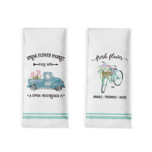 Artoid Mode Spring Flowers Bicycle Truck Kitchen Dish Towels, 18 x 28 Inch Seasonal Spring Ultra Absorbent Drying Cloth Tea Towels for Cooking Baking Set of 2 Idaho