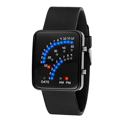 iHee futuristische Digital-Sportarmbanduhr für Damen und Herren mit roten und blauen LEDs, wasserdicht M schwarz