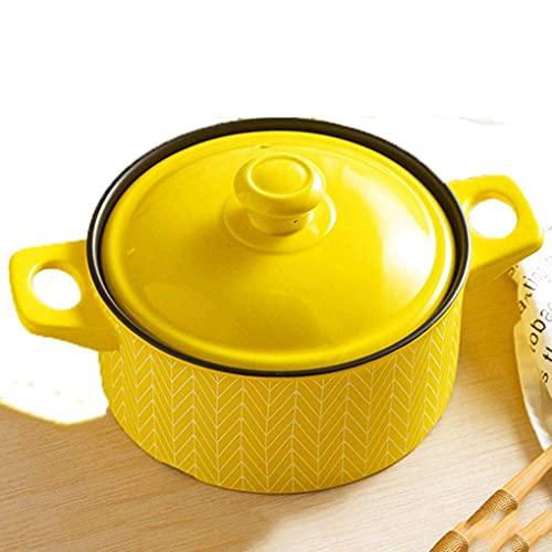 Pentola in ceramica da 20 cm con resistenza alle alte temperature, in ceramica, adatta per forno a microonde, stufa a gas, fornello elettrico in ceramica, verde (colore: giallo)