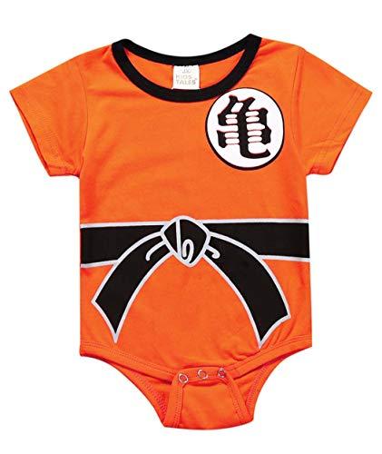 Askong Baby Jungen Halloween Cosplay Dragon Ball Z Son Goku Kurzarm Strampler Kleidung für 3 Monate bis 3 Jahre Gr. 6-12 Monate, 2 Orange