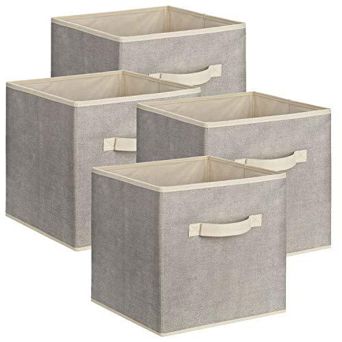1PLUS Quadratische Aufbewahrungsbox aus Stoff, 30 x 30 x 30 cm Universalbox zur Ordnung und Aufbewahrung im Schrank oder Regal - Aufbewahrungskorb, Box, Ordnungsboxen (Grau/Weiß, 4)