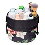 Barrel Makeup Bag Travel Drawstring Cosmetic Bag Toiletry Organizer Waterproof for Women and Girls(Small, Black Peony)