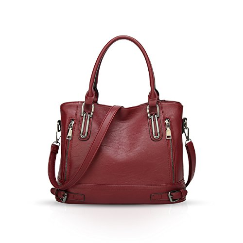 NICOLE & DORIS Damen Schultertasche Tote Bag Handtasche Umhängetasche PU Leder Große Kapazität