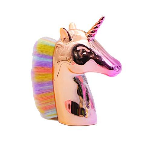 Cepillo para polvo de unicornio Color del arco iris: cepillo para uñas con cerdas de pelo sintético suaves y densas