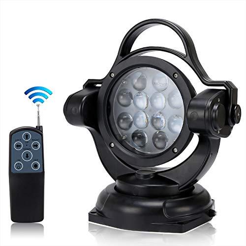 SUPAREE Wireless Remote Control Searchlight 5000LM 12V 24V 60W 360º Cree LED Rotating Remote...