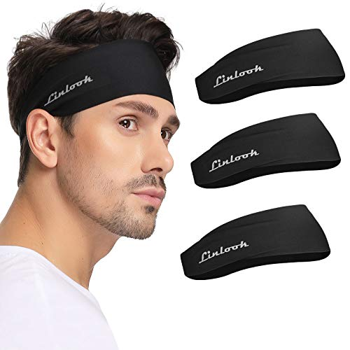 Sports Headbands for Men - Mens Wide Sweat Head Band Thin Sweatband for Running Workout Athletic Basketball Exercise Crossfit Fitness Tennis Gym Black